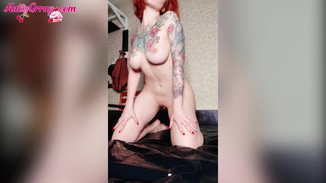 Health food asian - Redhead girl passionate food play - jerk off tight pussy - katty grray