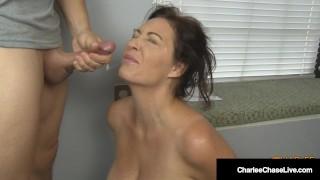 Big Titty Housewife Charlee Chase Kneels & Sucks Boss' Cock!