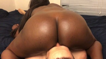 Ebony Teen Sits on White Guys Face and Dick and Gets Creampied