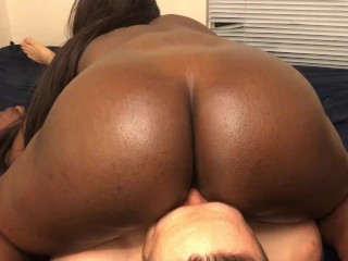 Ebony on white guys face and dick and...