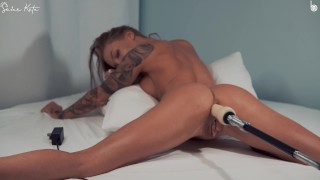tattooed fit blonde get fucked in ass with fuckmachine So1arkate