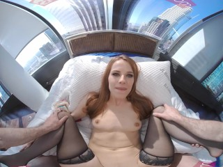 VR BANGERS Alluring Redhead Escort Girl In Hot Lingerie In Your Bed VR Porn
