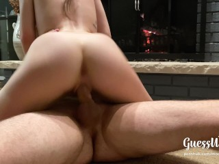 Sexy santa rides for Xmas creampie 4K—Romantic quiet fuck with parents home