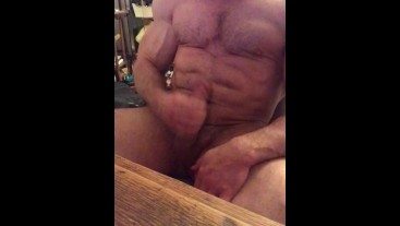 Fitness model solo chair stroking big cock