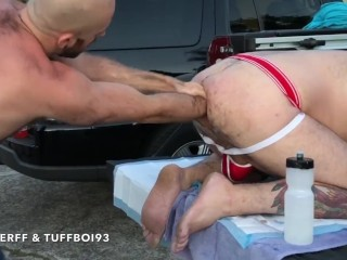 Fisting on back of pickup truck hungerff...