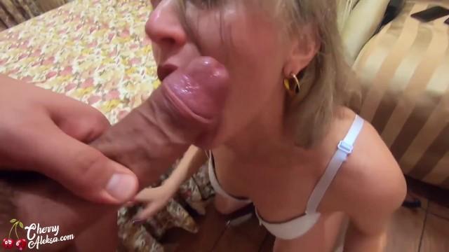 Swallow cum tonight Horny maid sloppy blowjob and hard anal - cum swallow pov