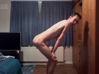 Off ribs and flexes his bones while masturbating...