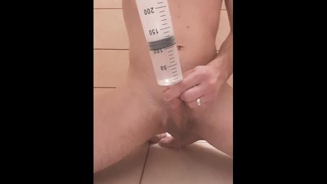 Gay penis boys - Young boy enema watter syringe in penis