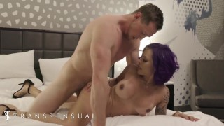 Transsensual - Purple Haired tranny rides big dick