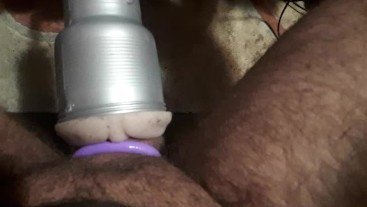 Quick trial run of my homemade fleshlight attachment on wife's sex machine
