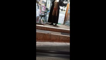 Real wife public naked in the street before shoping