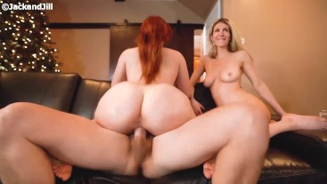 Big Ass Redhead threesome clip