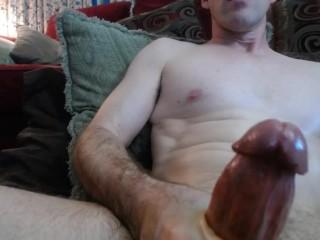 Dusty masturbating his big cock until...