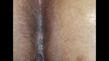 Close up of Latina anus, oiled asshole. Happy New Years everyone.