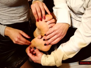 Lesbian teens loves to tickle male soles with...