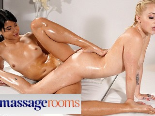 Massage Rooms Lady Dee and Marilyn Sugar lesbian scissoring after foot play