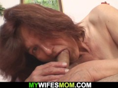 Horny Senior Mother-in-law Prepared To Rail His Cock