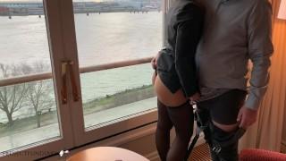 secretary used by her boss during business break risky window fuck cumass