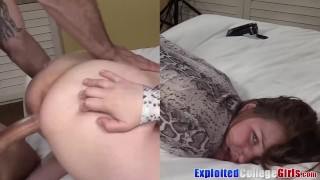 Young coed Clove fed jizz after fucking in her 1st porn