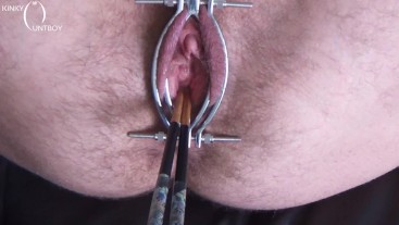 Labia spreader opening slutty pussy & dildo up the ass