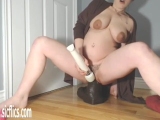 Colossal Dildo Wrecks Her Loose Pussy