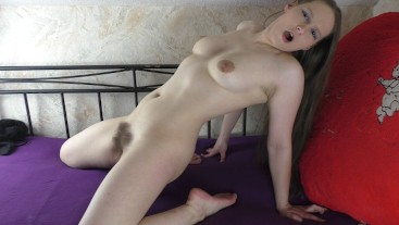 Teen Fucks Her Hairy Pussy With Tongue Dildo - Uncut From 3 Perspectives