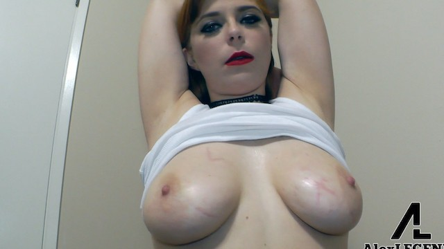 Dominika in oily pantyhose masturbating Sexy redhead plays with her huge oily natural tits