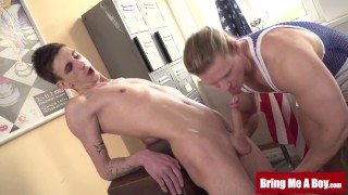 Euro twinks big cock massaged by naughty hunk daddy