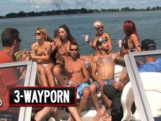 3 way porn big boat group sex party...