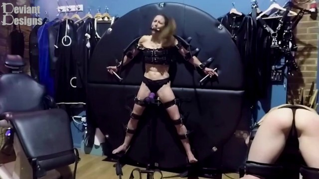 Asian fashion designers K cant escape the vibrator while gagged and strapped to the wheel