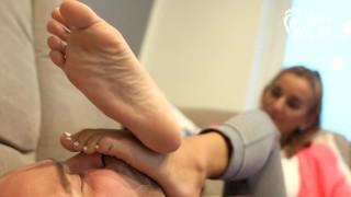 Gym feet domination and brutal foot smother (femdom, footdom, humiliation)