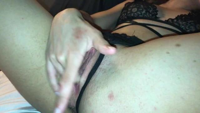 Teen Fingering Pussy In Black Lingerie 7
