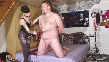 Cock slapping & spanking CBT by a sexy goth domina pt2 HD