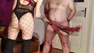 Cock slapping-whipping-spanking by sexy goth domina pt2 HD