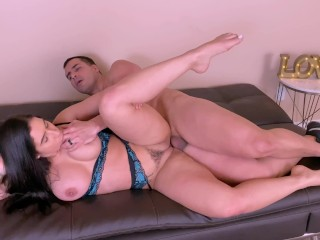Fit MILF bounces her big tits while riding a fit guy's big dick