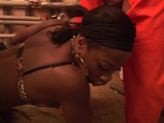 Ebony wife loves hardcore dp with two montsr...