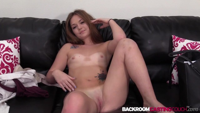 Inked 19yo babe Sami White auditions for anal creampie