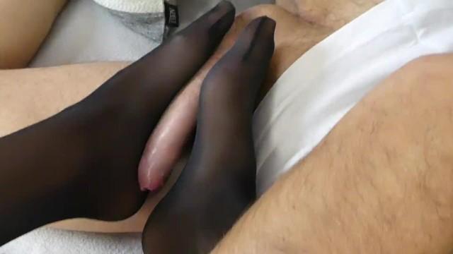 amazing footjob in black nylon stockings 3