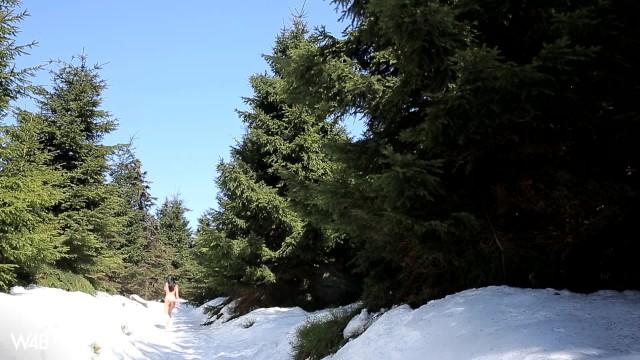W4B Petitte Czech Teen Sapphira Naked Winter Skiing 41