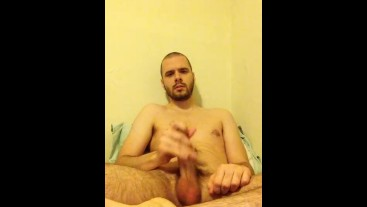 Quick jerkoff in bed and eat my own cum when I finish