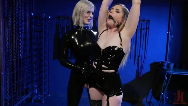 Shemale cums in straight girls pussy Greedy latex slut: dresden gives up her holes to ella hollywood