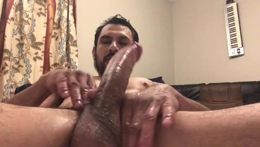 Slippery long cock