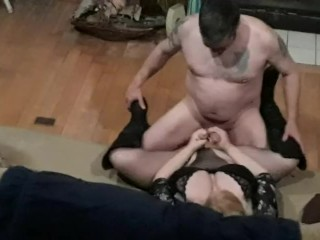 Mouth then stroking our cocks...