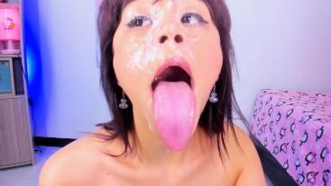 Lila Jordan- Saliva on her face