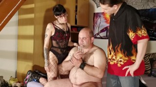 Dominant couple spit a fat who drind the spit pt2 HD