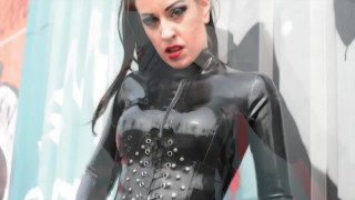 Lady Bellatrix in Amsterdam North - shining My latex catsuit (promo video)