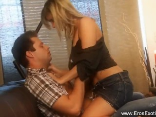 Blonde milf is super sexy riding cock tramp...