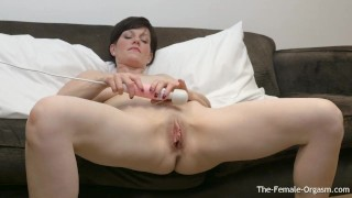 Mature MILF Olivia G Masturbates Her Fleshy Pussy to Two Contracting Orgasm
