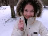 I love quick sex outdoors even in winter - Cum on my pretty face POV