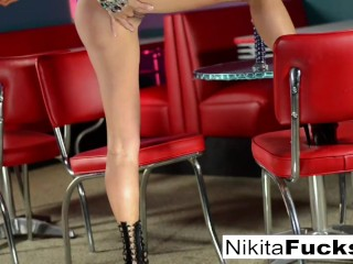Russian Milf Nikita Von James stretches her pussy with a glass toy!